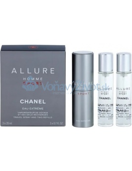 Chanel Allure Homme Sport Eau Extréme Travel Spray And Two Refills M EDT 3x20ml